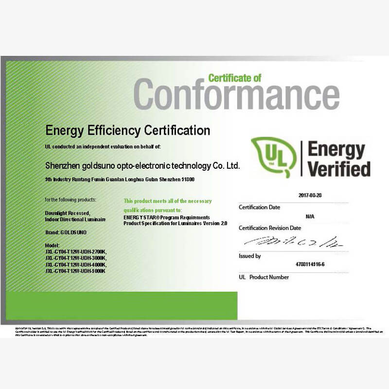 4 Inch 12W Downlight Energy Star Certificate