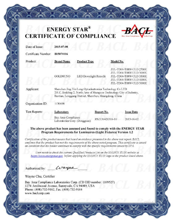 4 Inch 8W Downlight Energy Star Certificate